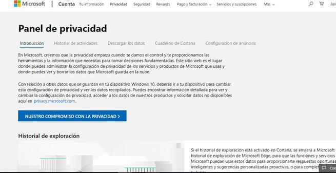 Historial de actividades de Microsoft