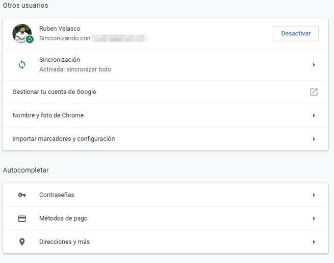 Configuración Google Chrome 72