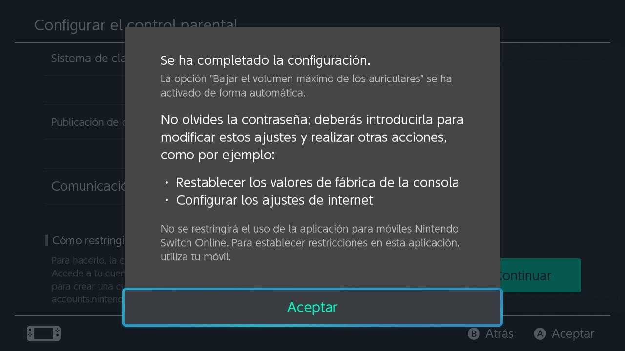 Nintendo Switch - Configurar control parental 6