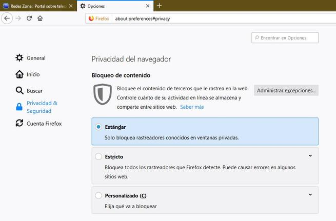 Nuevas opciones de privacidad Firefox 65