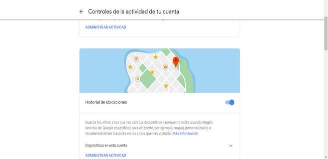 Controles de actividad de la cuenta de Google
