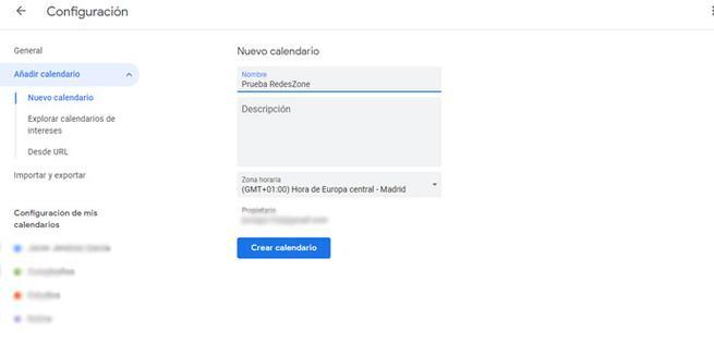 Crear calendario compartido en Google