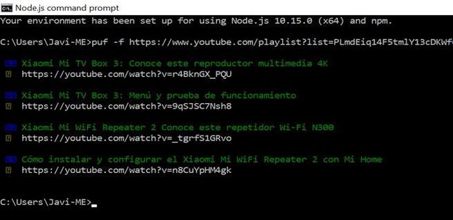URL de la lista de reproducción de YouTube