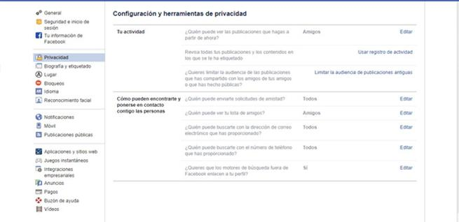 Revisar la privacidad en Facebook