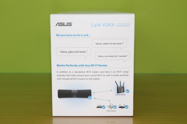 Lateral derecho de la caja del ASUS Lyra Voice con ejemplos de Amazon Alexa