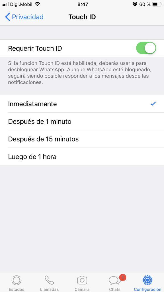 Activar huella WhatsApp iPhone - 5