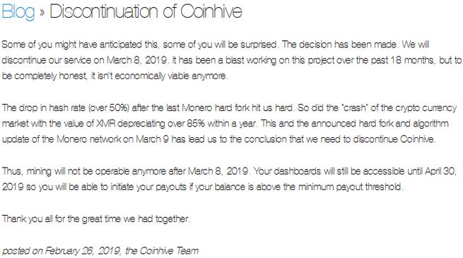 Coinhive Shutdown