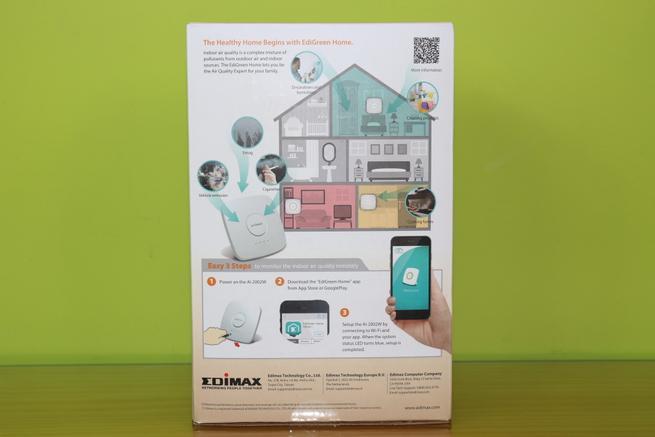 Trasera de la caja del Edimax AI-2002W con todas las especificaciones técnicas y uso