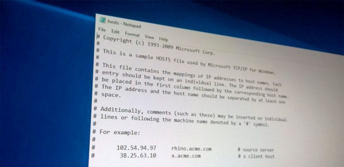 Fichero hosts Windows