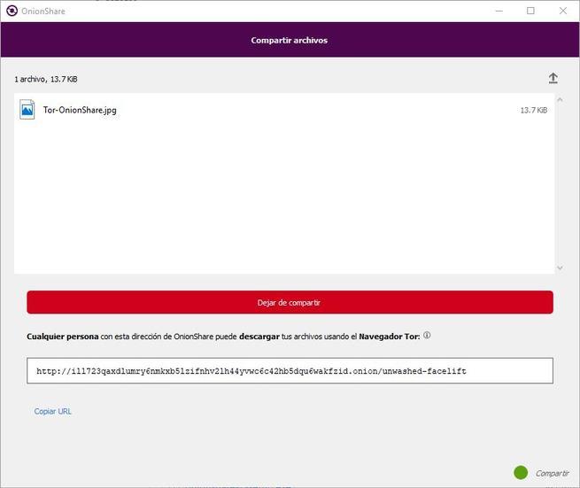 OnionShare 2 - URL modo compartir