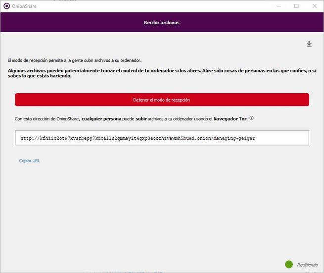 OnionShare 2 - URL modo recibir