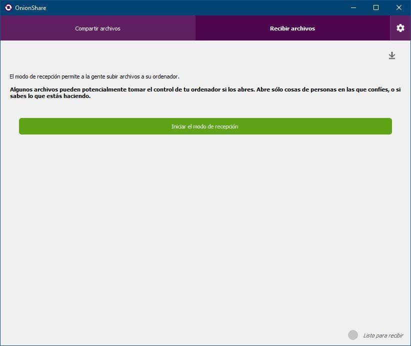 OnionShare 2 - modo recibir
