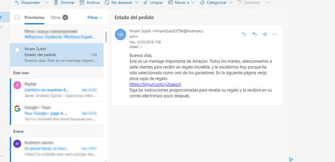 Correo Phishing de Amazon