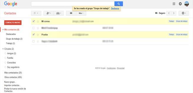 Crear un grupo de contactos en Gmail