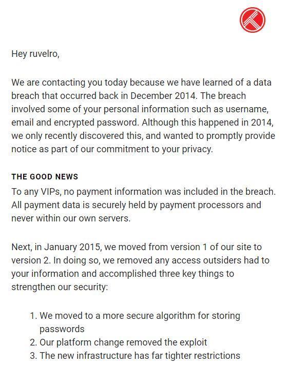 email robo datos trakt.tv