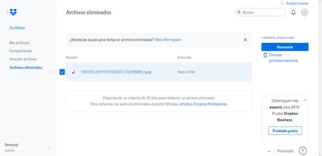 Recuperar archivos borrados en Dropbox