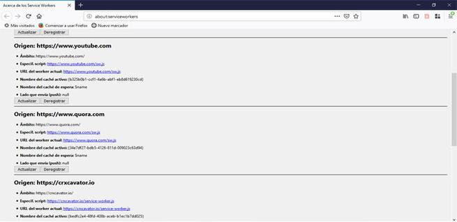 Consultar los service workers en Firefox