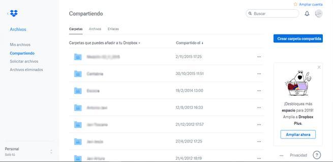Ver archivos que estamos compartiendo en Dropbox