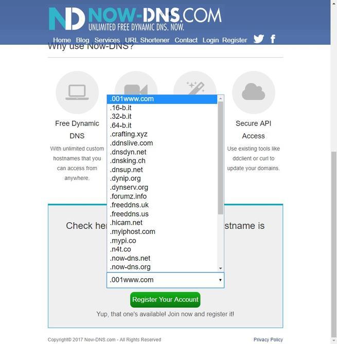 Dominios DDNS Now DNS