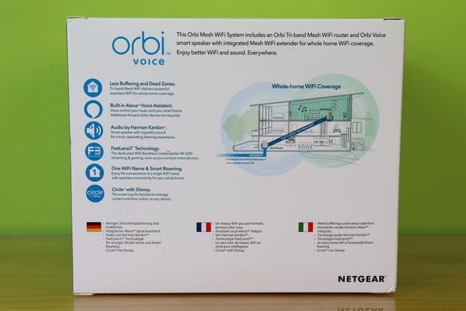 Trasera de la caja del NETGEAR Orbi Voice RBK50V con las principales características