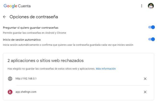 Opciones de contraseña de Google Password Manager
