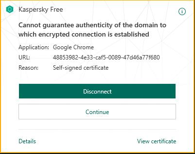 Kaspersky error certificado Chromecast