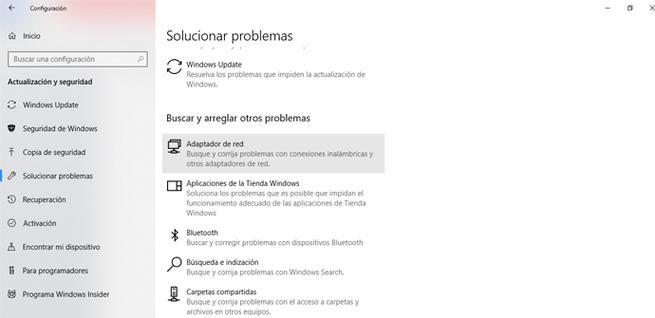 Solucionar problemas en el adaptador de red