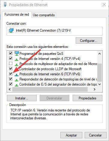 Desactivar IPv6 tarjeta de red
