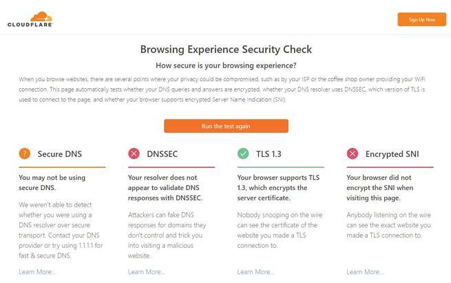 Estándares seguridad navegadores test Cloudflare