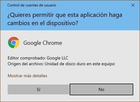 Google Chrome Permisos Administrador