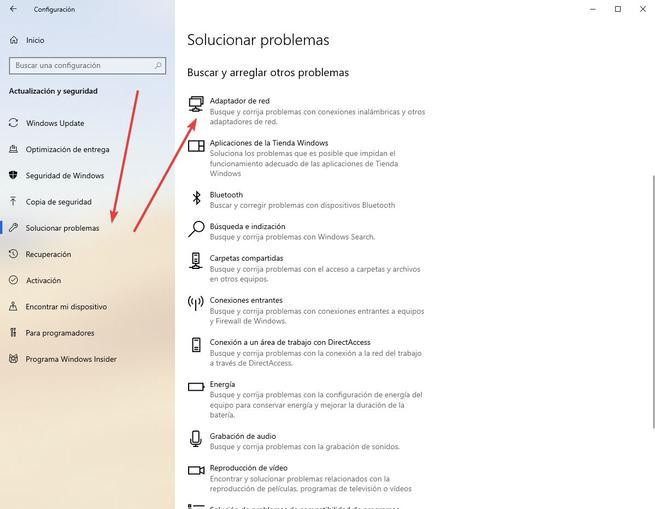 Solucionar problemas adaptador de red Windows 10