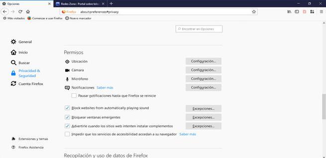 Bloquear ventanas en Firefox