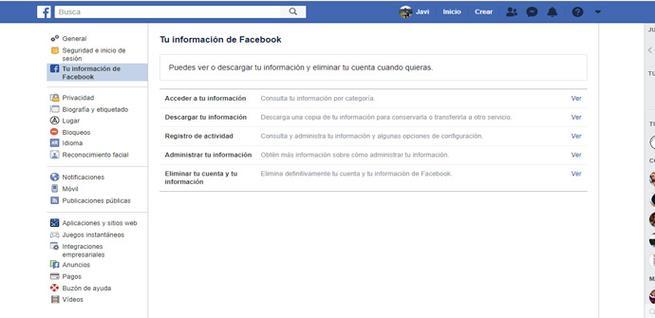 Descargar la información de Facebook