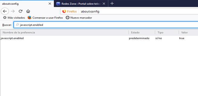 Habilitar JavaScript en Firefox