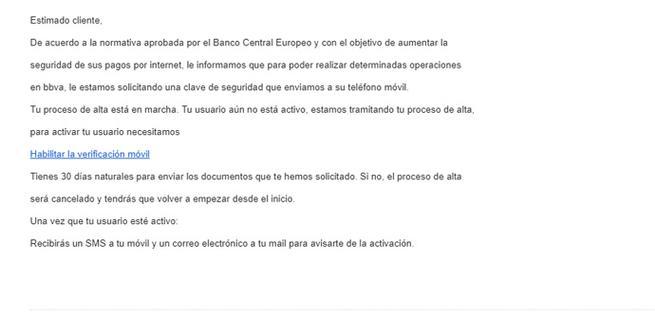 Nuevo mensaje Phishing pide activar la cuenta bancaria