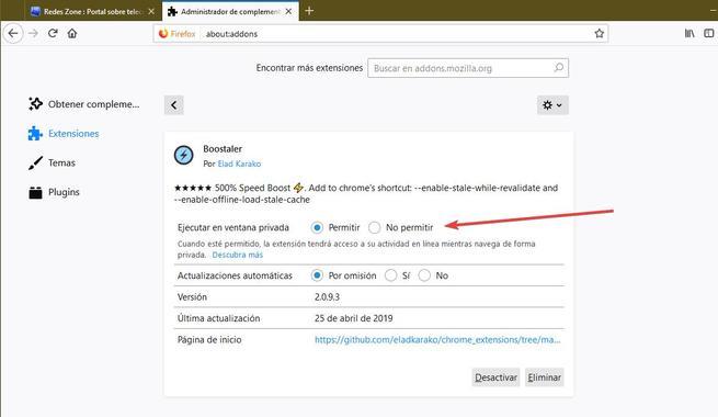 Extensiones modo privado Firefox 67