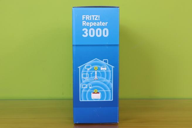 Lateral izquierdo de la caja del repetidor Wi-Fi FRITZ!Repeater 3000 en detalle