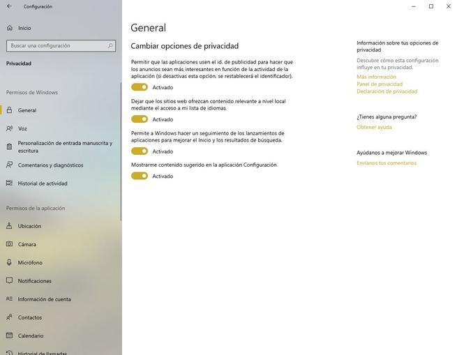 Panel Opciones Privacidad Windows 10