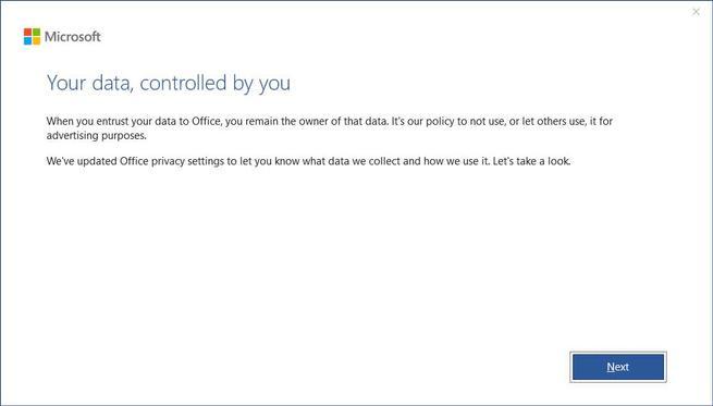 Privacidad recopilar datos Office - 1