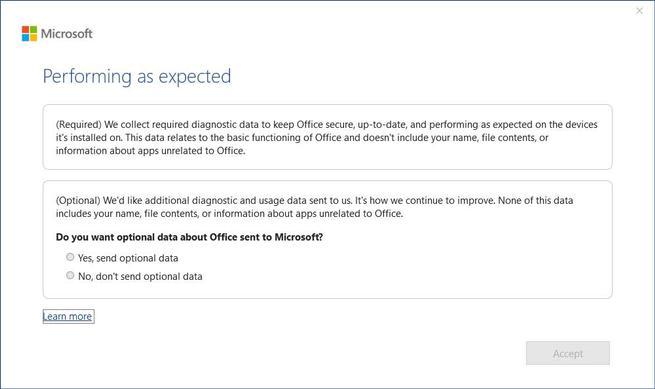 Privacidad recopilar datos Office - 2