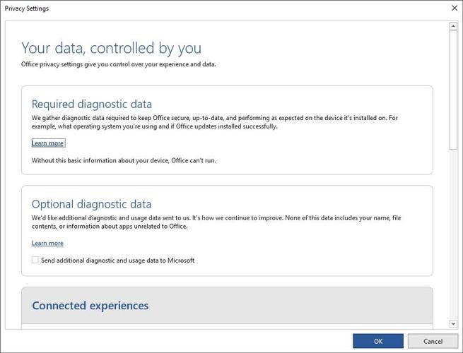 Privacidad recopilar datos Office - 3