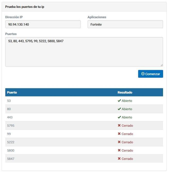 Test puertos abiertos Fortnite
