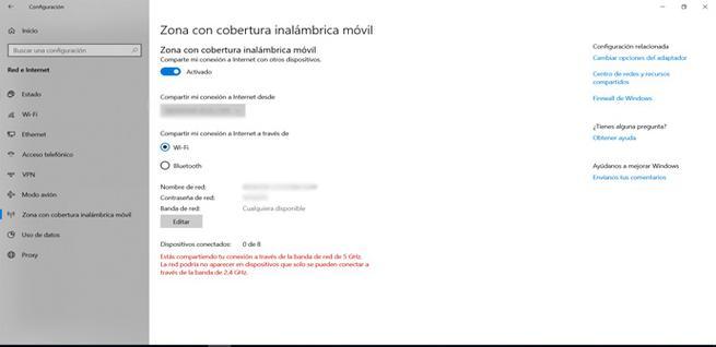 Activar la zona de cobertura móvil en Windows 10