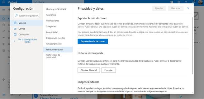 Borrar historial de búsquedas de Outlook