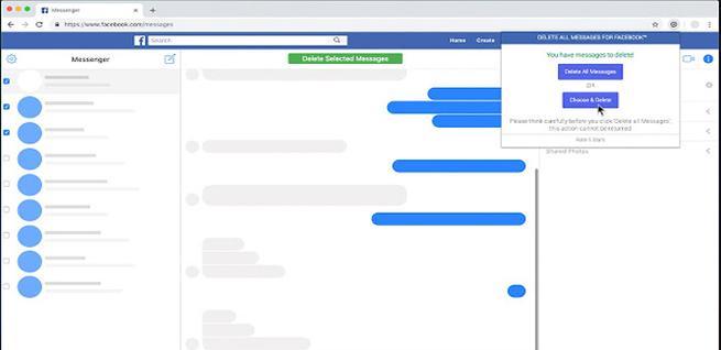 Borrar los mensajes de Facebook con un clic