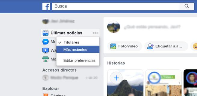 Cambiar fuentes algorítmicas en Facebook