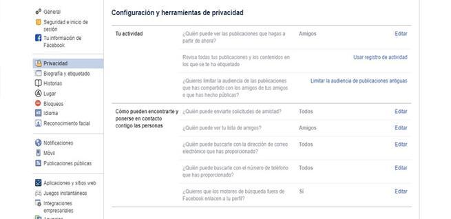 Configuración de privacidad en Facebook