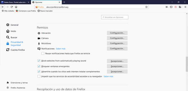 Ver permisos de los sitios de Firefox