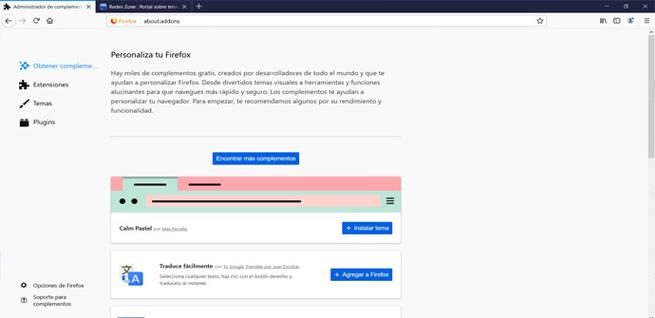 Ver extensiones en Firefox