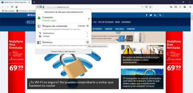 Ver permisos de los sitios en Firefox